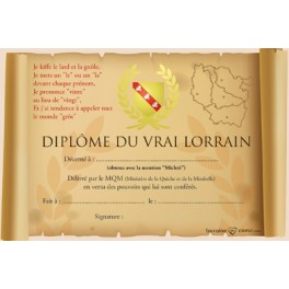 Carte postale - Diplôme du vrai Lorrain